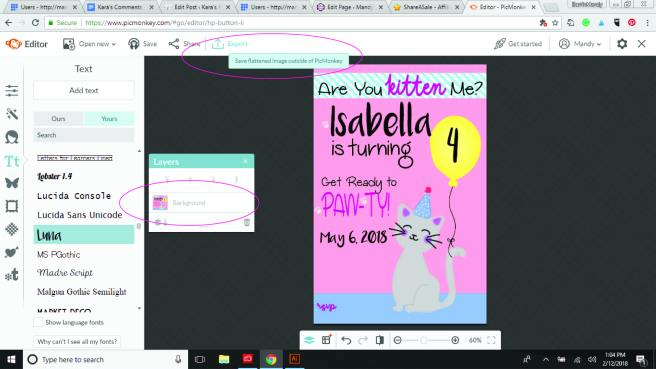 PicMonkey Tutorial showing flattened image, ready for export | Mandy's Party Printables