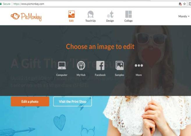 Screenshot from PicMonkey showing options for downloading picture files | Mandys Party Printables