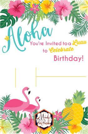 Editable Luau Birthday Party Invitation