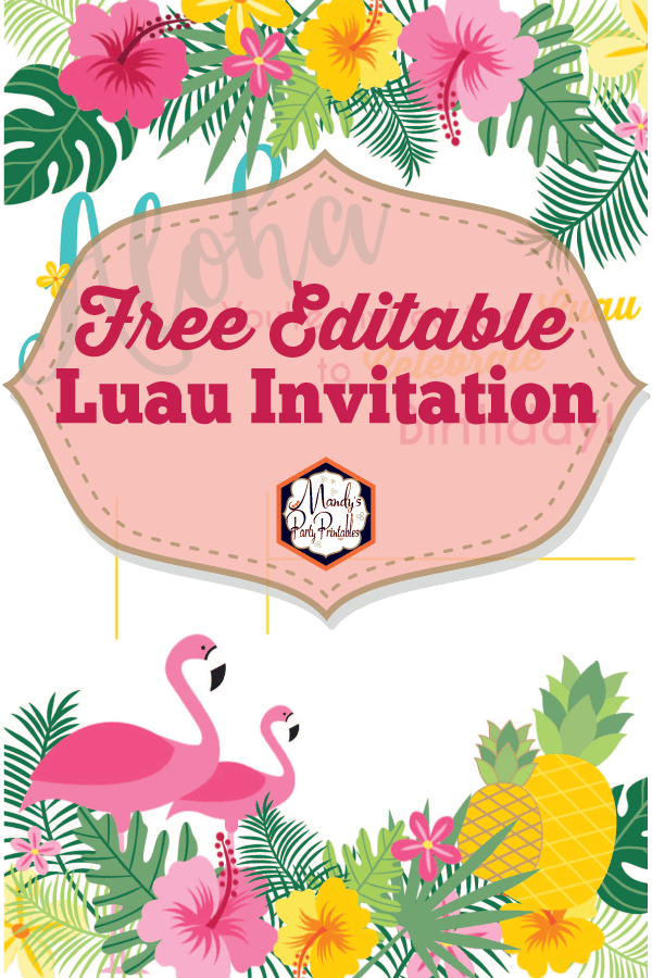 graphic about Printable Party Invitations called Editable Luau Birthday Get together Invitation