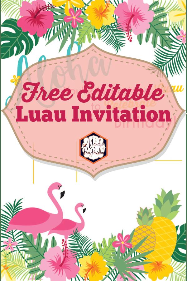 editable luau birthday party invitation