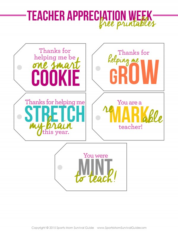 graphic about Free Printable Teacher Appreciation Gift Tags identify Even Further more Trainer Appreciation Printables!