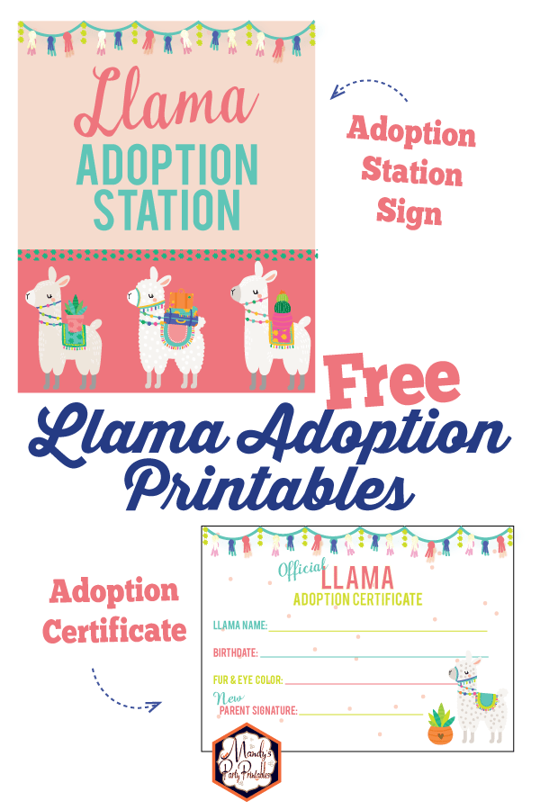 Free Llama Adoption Party Printables