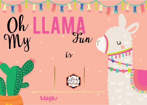 editable llama birthday party invitation