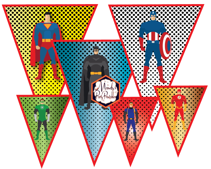 photo about Free Superhero Party Printable named Justice League Influenced Superhero Banner