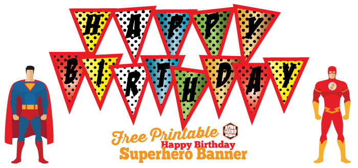 photo about Printable Happy Birthday Banner known as Absolutely free Superhero Content Birthday Banner