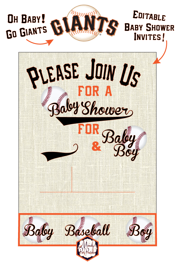 photograph about Free Printable Baseball Baby Shower Invitations named Giants Baseball Little one Shower Printables