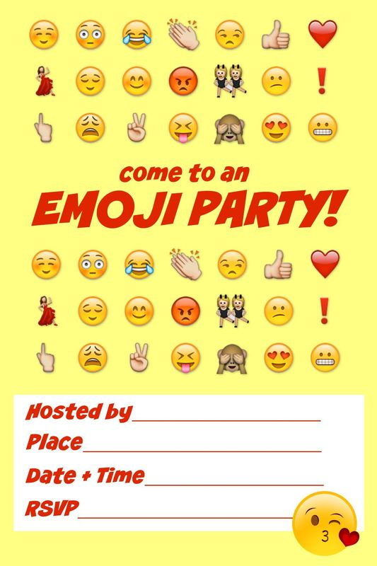 graphic about Free Printable Emoji B Day Invites titled Printable Emoji Celebration Invites