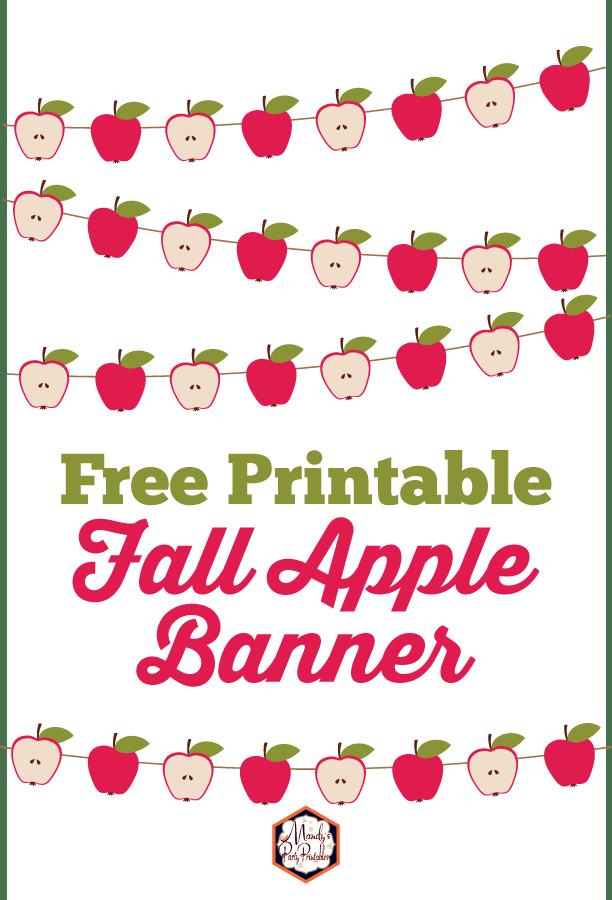 photo regarding Fall Banner Printable called Totally free Apple Slide Banner Printable