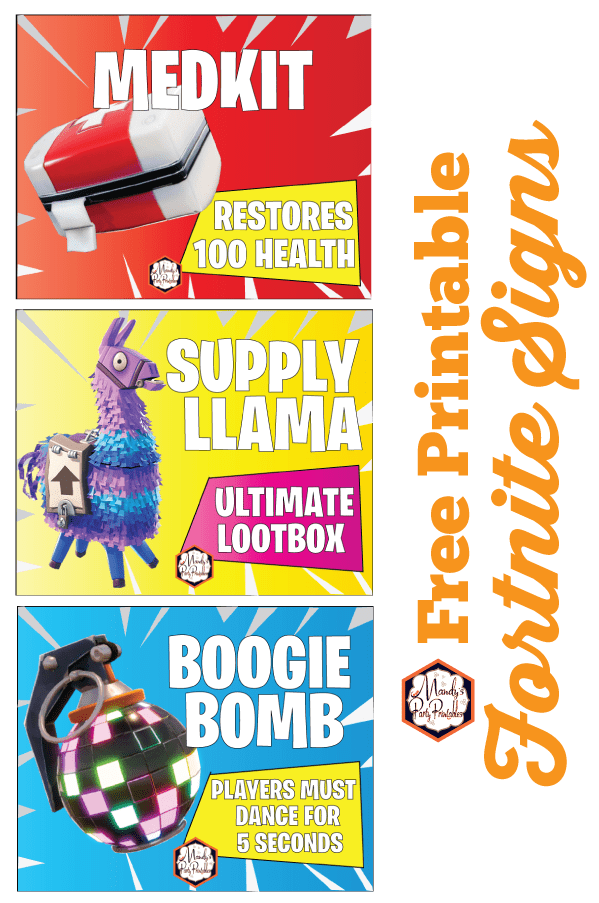 image about Free Printable Signs identified as No cost Printable Fortnite Celebration Indicators