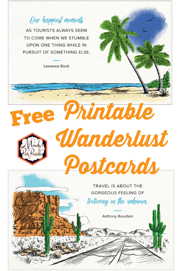 graphic relating to Printable Postcards Free called No cost Printable Wanderlust Estimates upon Postcards