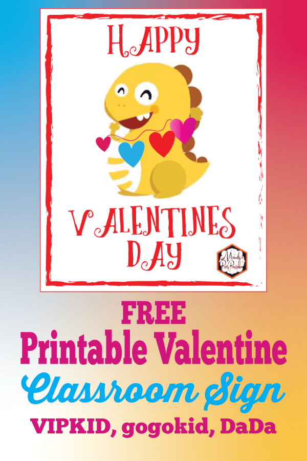 picture regarding Vipkid Dino Printable named Totally free Printable VIPKID Valentine Dino Indication