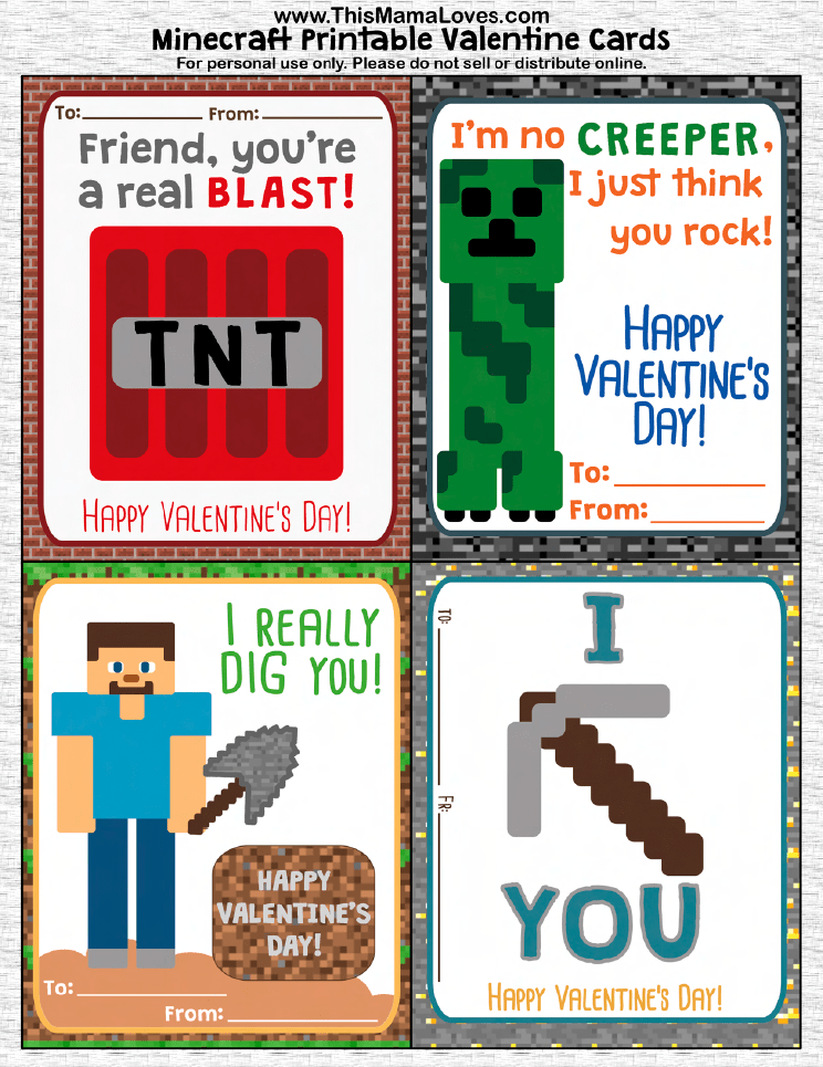 photograph regarding Minecraft Valentine Box Printable known as Cost-free Printable Gaming Valentine Playing cards