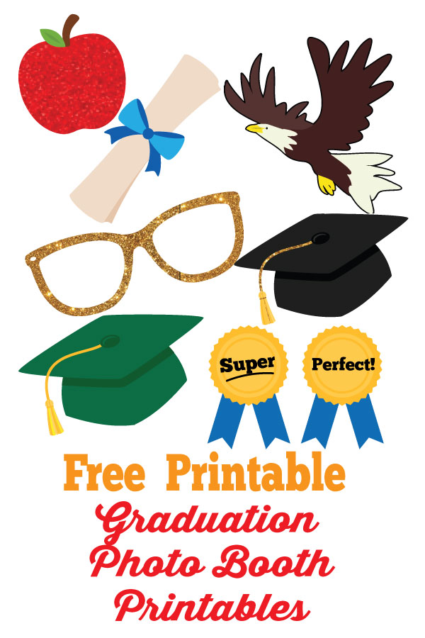 graphic relating to Free Printable Graduation Photo Booth Props named Commencement Photobooth No cost Printables