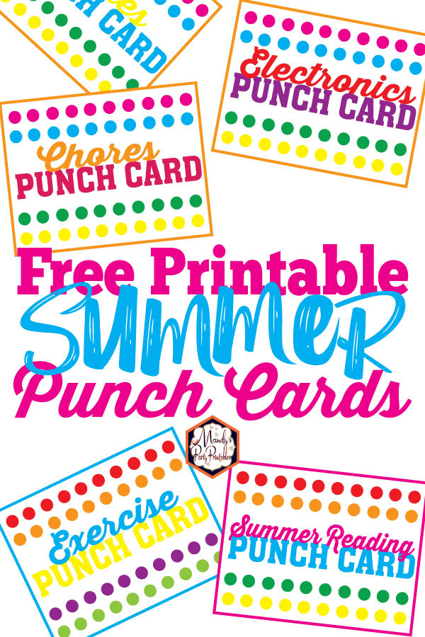 image relating to Free Printable Punch Cards referred to as Totally free Printable Summer months Punch Playing cards