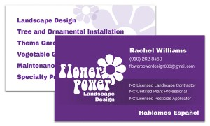 Mandy Torrence - Flower Power Landscaping Design Business Card
