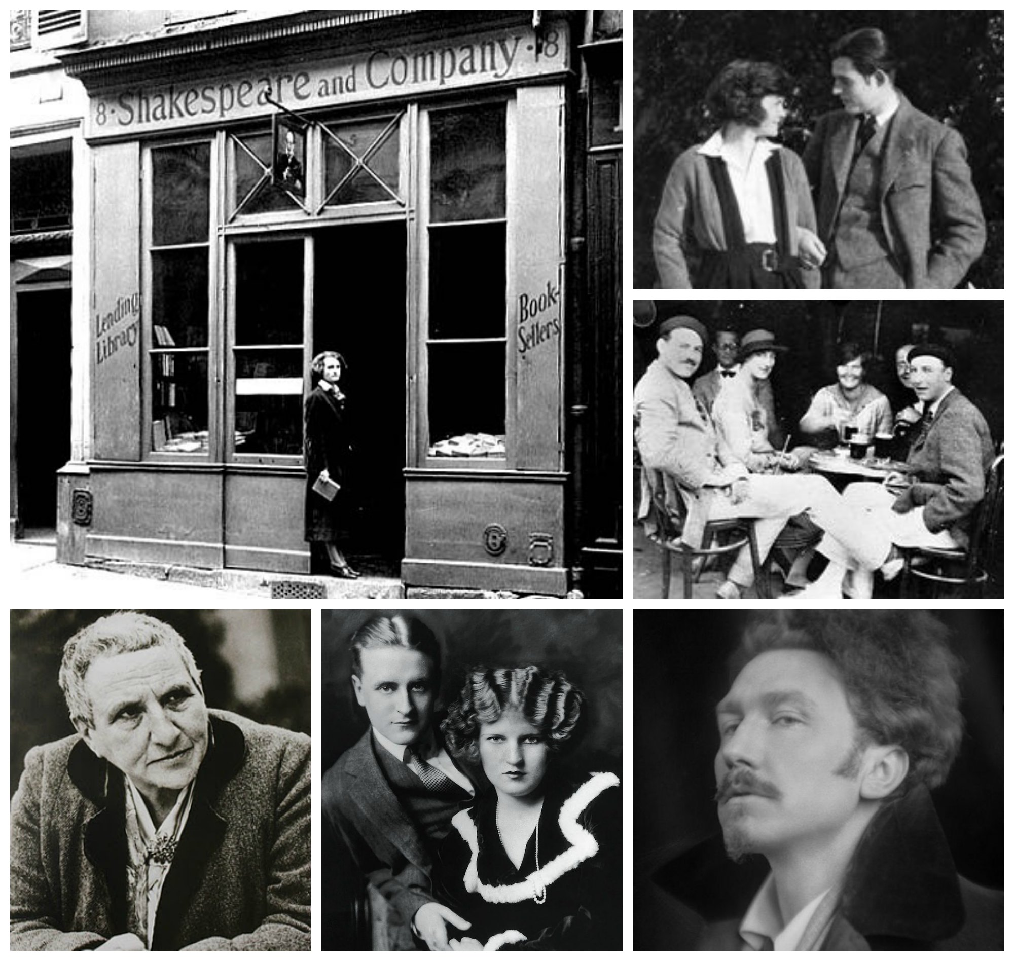 Photo collage: Shakespeare and Company, Gertrude Stein, Ezra Pound, F. Scott and Zelda Fitzgerald, Hadley and Ernest Hemingway