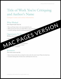Writing Critique Template | Mac Pages format