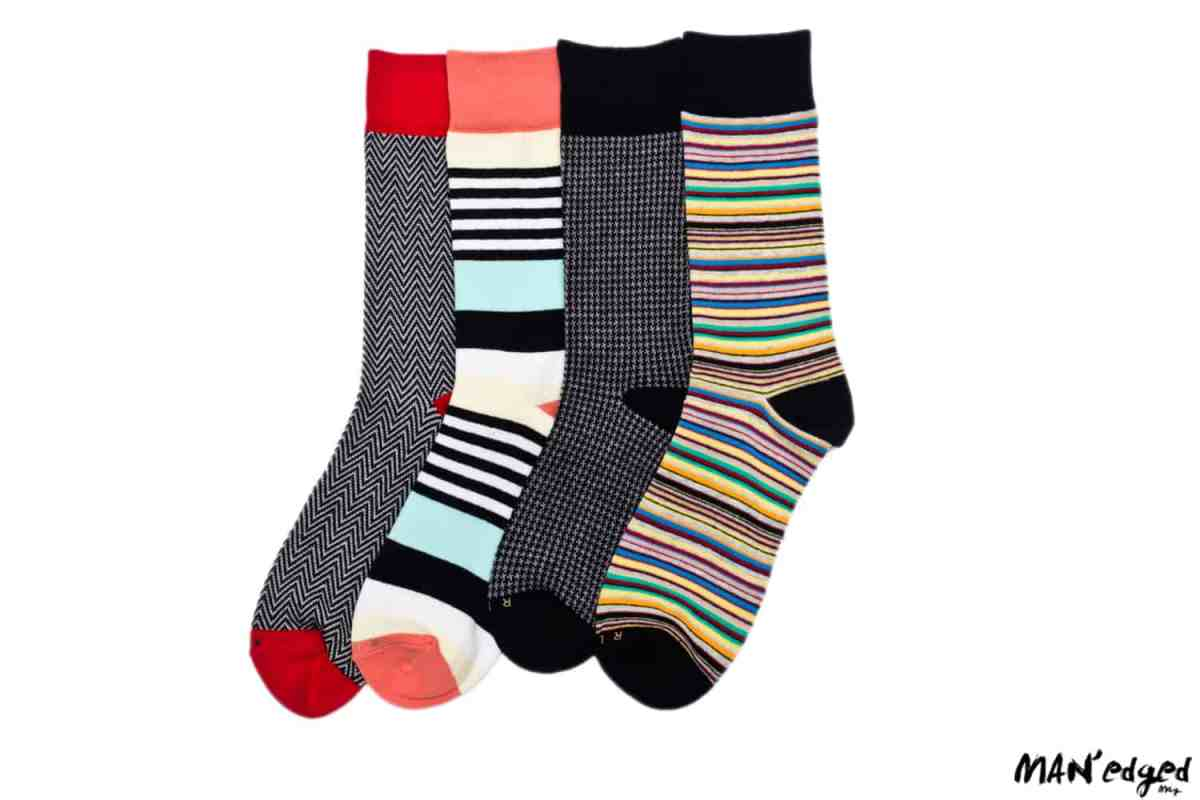 bold colored men's socks from related garments