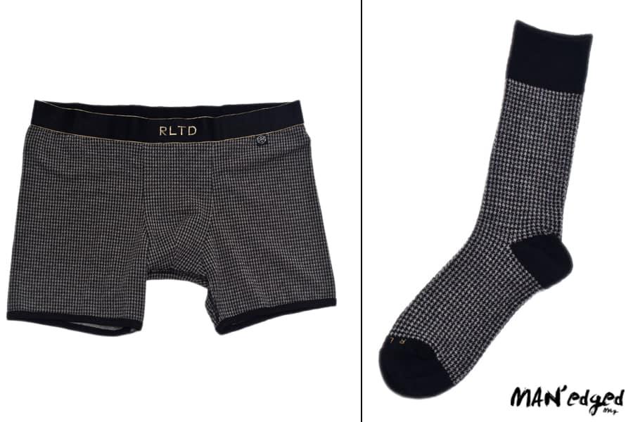Left men's boxer brief underwear from Related Garment, Right men's houndstooth handsome sock