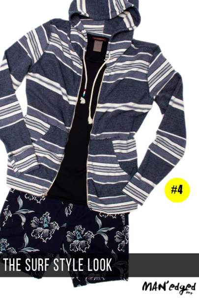 men's surf style outfit idea, striped men's hoodie, scotch and soda tee, scotch and soda floral short, men's short combos