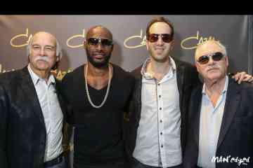 Paul Shyer (left), Tyson Beckford, Jason Shyer, and Roger Shyer of Ese Eyewear at the Cazal Official Event