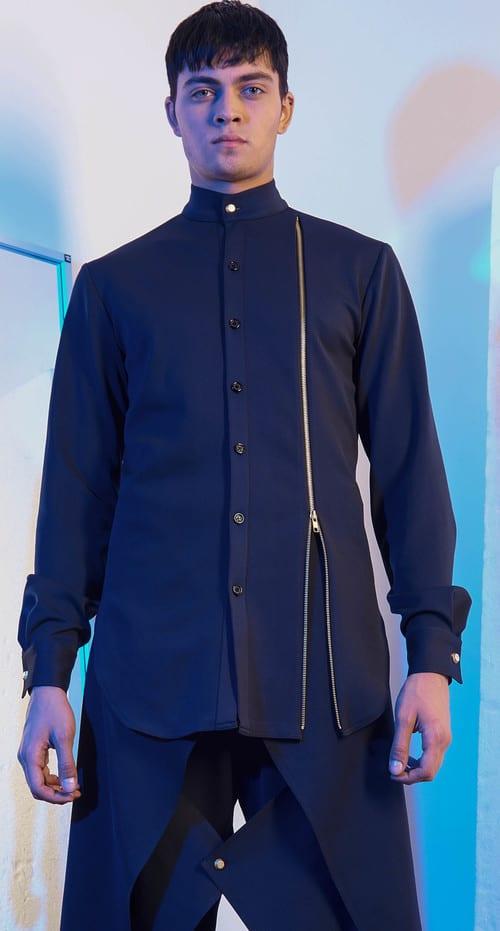 Menswear Designer Woodhouse showcasing a size zip men's button down shirt on model