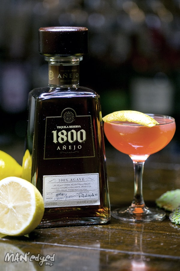 1800 Tequila Anejo bottle and cocktail