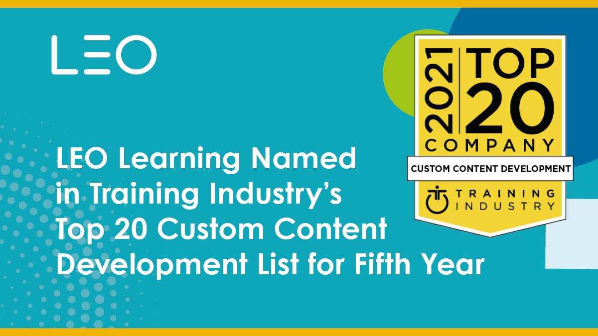 LEO Learning nombrado entre los 20 mejores desarrollos de contenido personalizado de la industria de la capacitación para el año 5