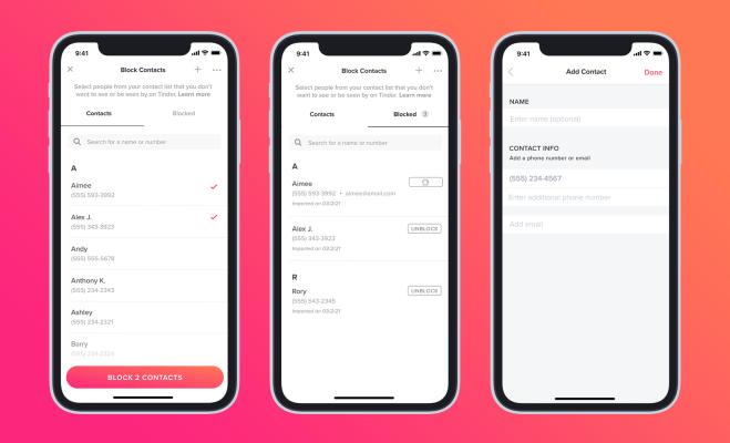 Tinder finalmente agrega una función de Bloquear contactos – TechCrunch