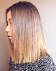 blunt haircut and bronde hair color