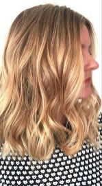 shimmering honey blonde highlights