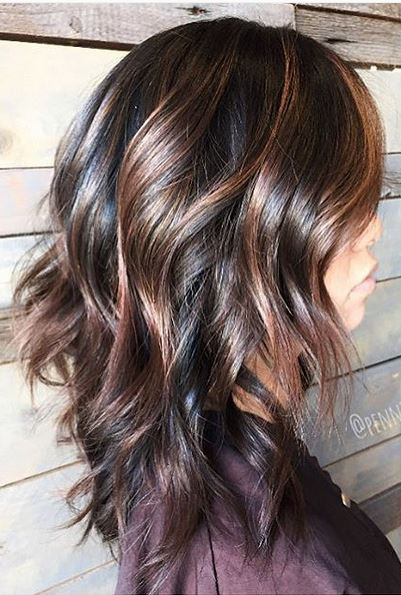 hair color idea - dark chocolate brunette with warm caramel highlights