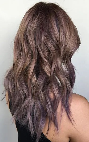 ash bronde and lilac tipped ombre hair color