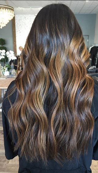warm balayage brunette highlights
