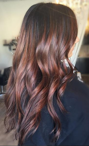 fall hair color idea - brunette with subtle hints of dark red