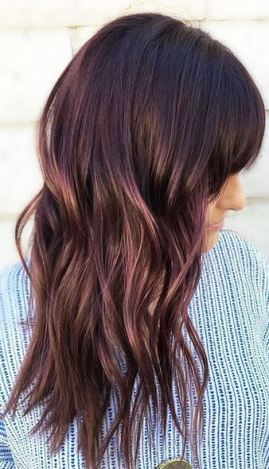 sutble plum tones on dark brunette hair