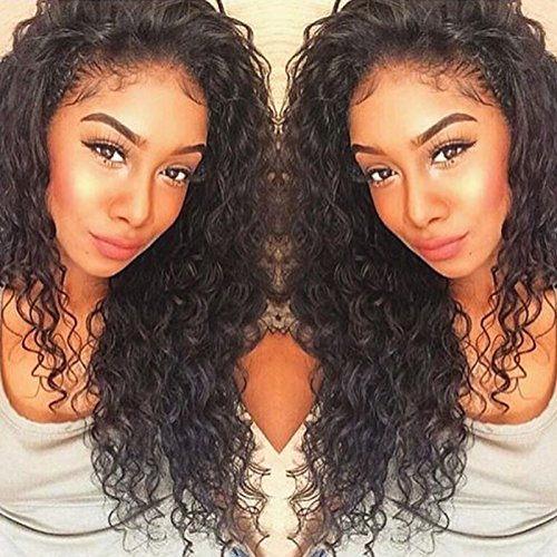 5077c9a22 Curly Human Hair Lace Front Wigs 130% Density Brazilian Virgin Loose Deep  Curly Wig with Baby Hair for Black Women 16Inch