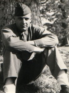 John F. Maney under a tree at Ufculme, England