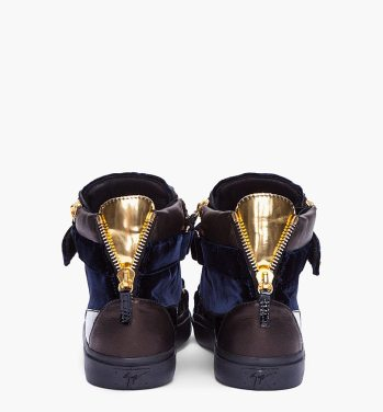 Giuseppe-Zanotti-Navy-Velvet-Gold-Sneakers-High-Tops-Back