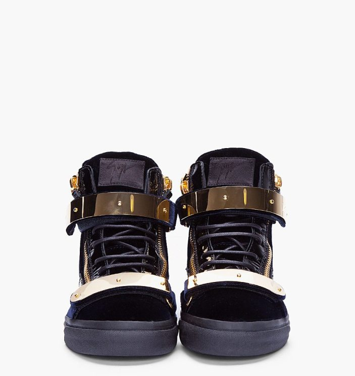 Giuseppe-Zanotti-Navy-Velvet-Gold-Sneakers-High-Tops-Front