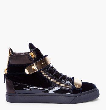 Giuseppe-Zanotti-Navy-Velvet-Gold-Sneakers-High-Tops-Side