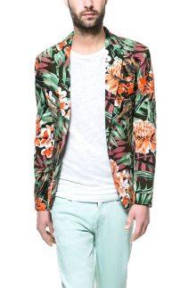 Zara-Floral-Blazer-Khaki-Front