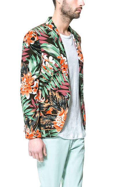 Zara-Floral-Blazer-Khaki-Side