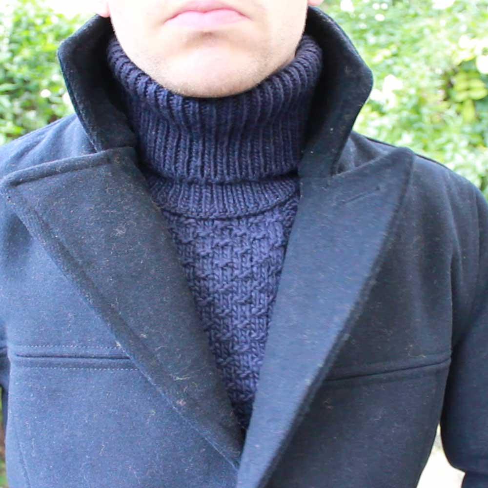 Topman-Navy-Cable-Knit-Roll-Neck-Pea-Coat