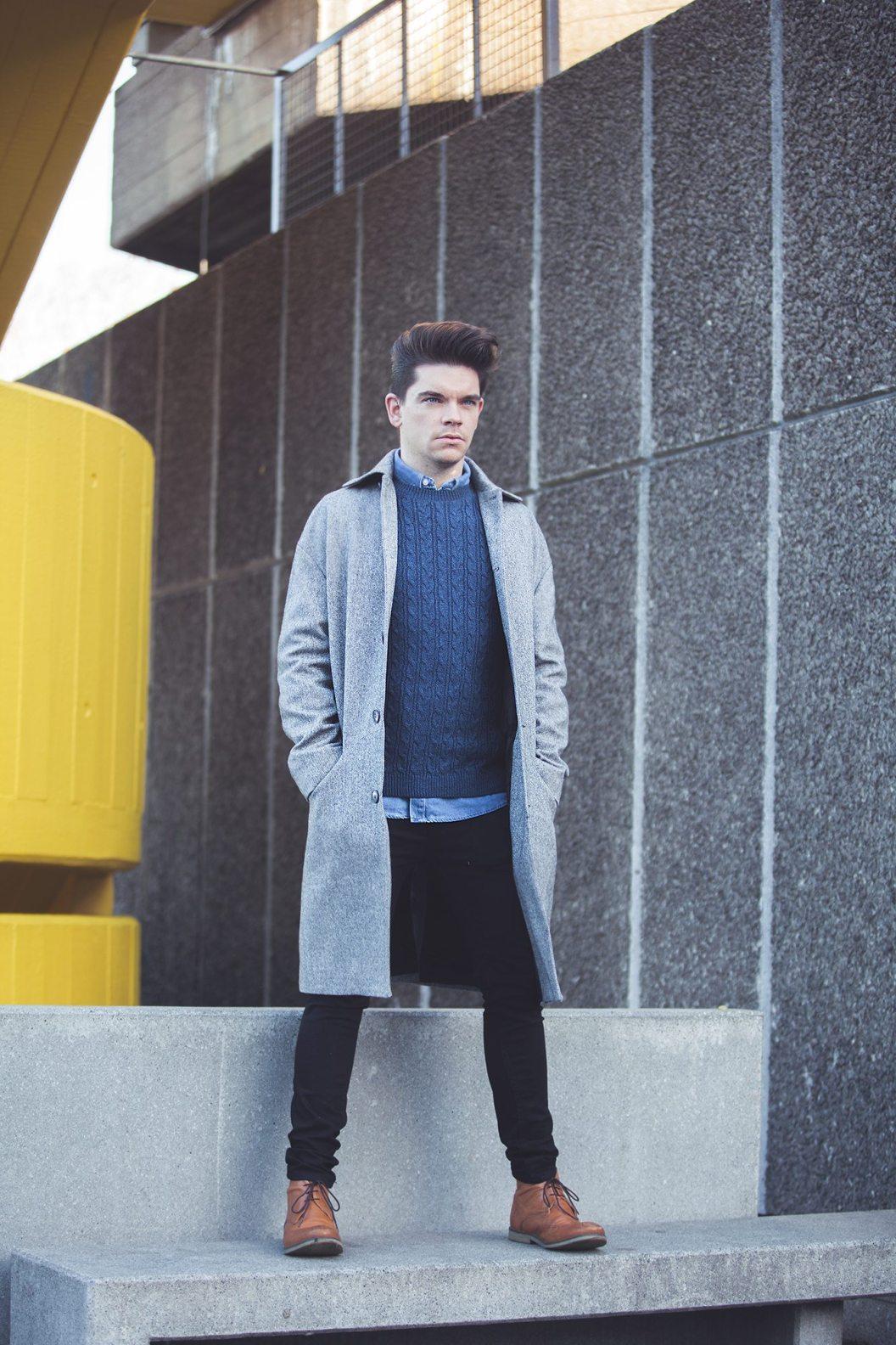 Robin_James_The_Utter_Gutter_Topman_Clothes_Winter_Shoot_Grey_Coat_Cable_Knit_Denim_Shirt_Portrait