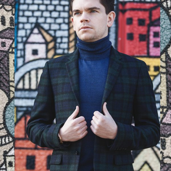 Robin_James_The_Utter_Gutter_Topman_Clothes_Winter_Shoot_Headshot_Tartan_Blazer_Roll_Neck