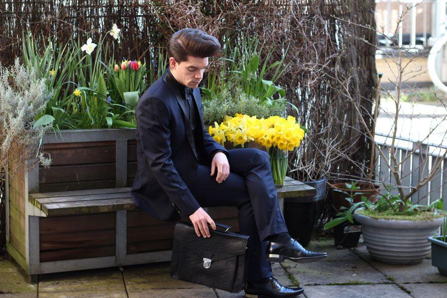 Wedding-Formal-Wear-Robin-James-The-Utter-Gutter-Navy-Tuxedo-Black-Shawl-Leather-Shoes-Gold-Heel-Leather-Satchel