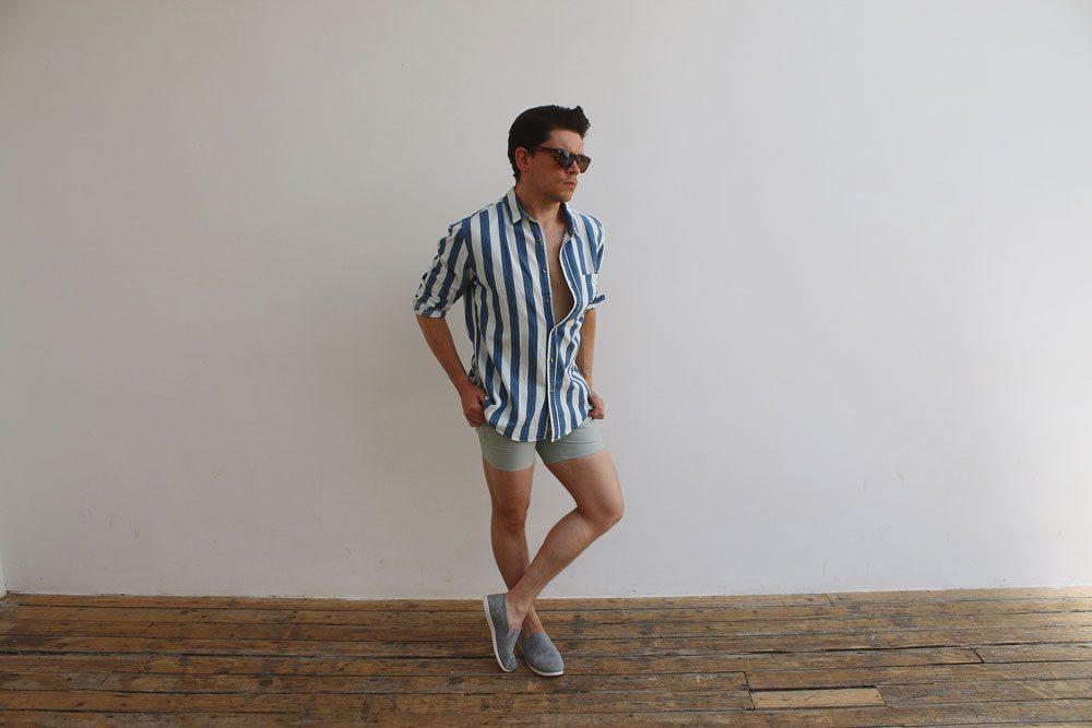 1-Green-Oxford-Micro-Shorts-Topman
