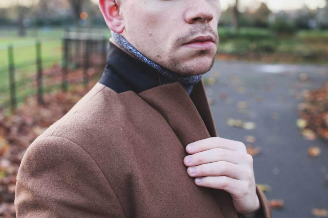 New-Look-Overcoat-Camel-Robin-James-Man-For-Himself-Collar